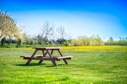 Picnic table on a green meadow with yellow spring flowers and dandelions on background. Early summer time, traveling and family vacation in camping site. Breakfast and picnic outside in an morning
