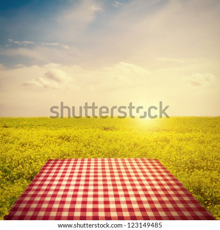 Picnic template with tablecloth in buttercup field against sun in sky - stock photo