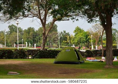 Picnic tent in Dubai Creek Park