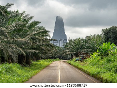 Pico Cão Grande in Sao Tome and Principe, nature landscape. Travel to Sao Tome and Principe. Beautiful paradise island in Gulf of Guinea. Former colony of Portugal.