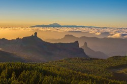 Pico de Teide seen from the highest point of Gran Canaria, with Roque Nublo in the foreground