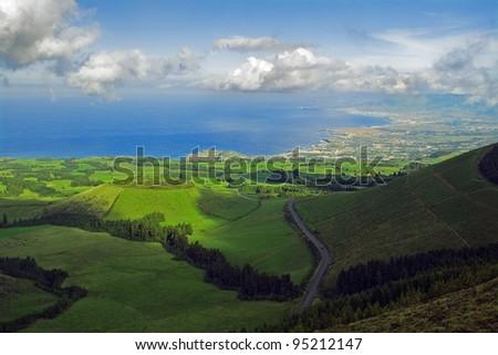 Pico do Carvão viewpoint facing northern coast, pastures and Pau Pique lagoon. Azores, San Miguel, Portugal
