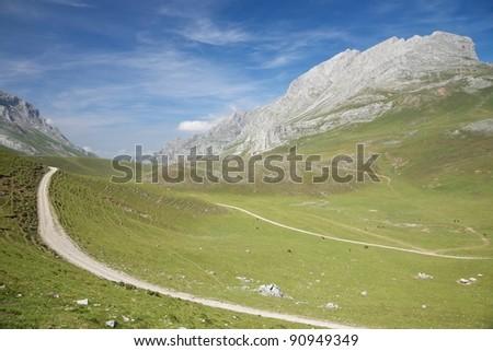 Picos de Europa mountains next to Fuente De village Cantabria Spain