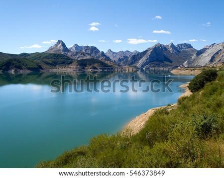 Shutterstock Picos de Europa, Spain: artificial lake in the natural park Picos de Europa