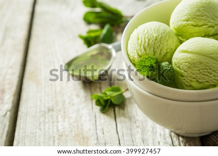 Pictachio ice cream in white bowl, copy space