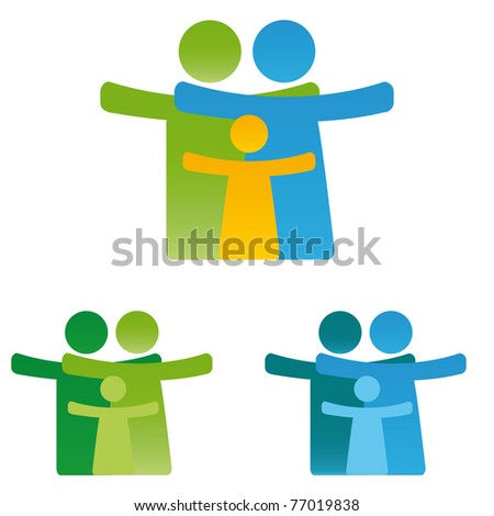 Pictogram showing figures happy family