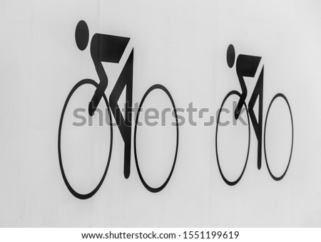 Pictograms of cyclists on a white background. Photo #1551199619