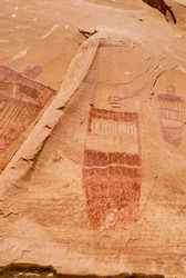 Pictographs found on the Great Wall in Horseshoe Canyon, Utah.  Some of the most significant prehistoric rock art in North America. This is a ghost figure.