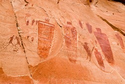 Pictographs found on the Great Wall in Horseshoe Canyon, Utah.  Some of the most significant rock art in North America. Ghost figures, warriors, flute player, and more.