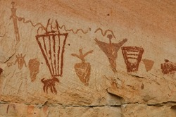 Pictographs found on the Great Wall in Horseshoe Canyon, Utah.  Some of the most significant rock art in North America. Ghost figures, warriors, flute player, rivers, snakes, and more.