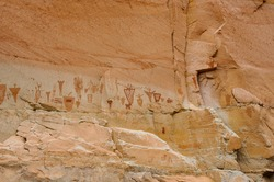 Pictographs found on the Great Wall in Horseshoe Canyon, Utah.  Some of the most significant rock art in North America. Ghost figures, warriors, flute player, Gods, and more.