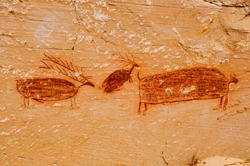 Pictographs found on the Great Wall in Horseshoe Canyon, Utah.  Some of the most significant rock art in North America. This small section depicts a large bison, and two elk or deer.