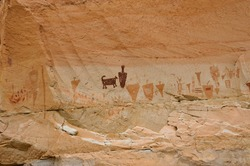 Pictographs found on the Great Wall in Horseshoe Canyon, Utah.  Some of the most significant rock art in North America.  A wide variety of images are found in this section.