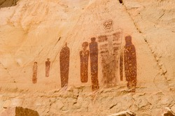 Pictographs found on the Great Wall in Horseshoe Canyon, Utah.  Some of the most significant rock art in North America.  This is The Great Ghost Cluster.