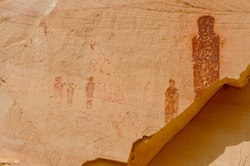 Pictographs found on the Great Wall in Horseshoe Canyon, Utah, some very significant rock art in North America. Look closely, you will see petroglyph sheep as well. Sadly, you can also see defacement.
