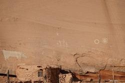 Pictographs in wall at cow ruin. Navajo nation. Canyon de chelly. Ruins.
