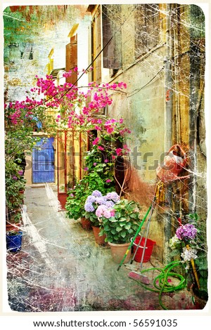 pictorial courtyards of Greece- artwork in retro painting style