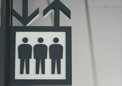 Pictorial display signs at elevator stops