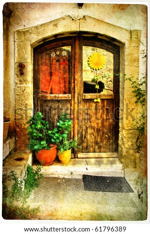 pictorial greek villages doors- artwork in retro style