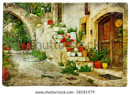 pictorial greek villages (Lutra)- artwork in retro style