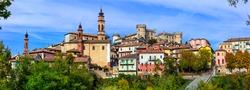 Pictorial medieval village(borgo) and castle - Costiglione d'Asti in Piemonte,(Piedmont) Italy