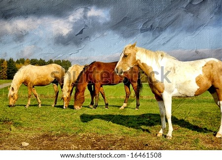 Pictorial scene with horses on pasture -artwork in painting style