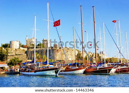 pictorial scene with yachts near castle (Bodrum - Turkey)