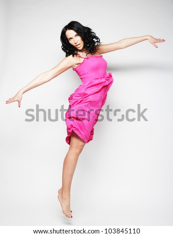 Picture a beautiful fairy flying girl in pink  dress