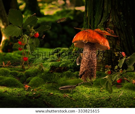 Picture - a fairy tale for children. A lot of different insects in the forest glade. Ant, spider, mantis, beetle, caterpillar, aphids, wasp. Forest Fairy Tale. Strawberries, mushroom
