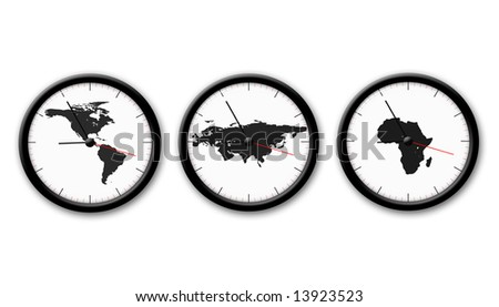 picture about three black and white watch on tha white background