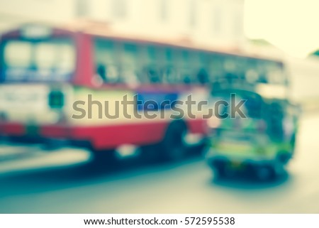 Picture blurred  for background abstract and can be illustration to article of bus in thailand #572595538