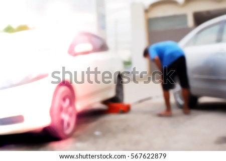 Picture blurred  for background abstract and can be illustration to article of car in garage #567622879