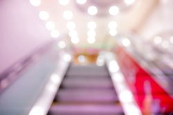 Picture blurred  for background abstract and can be illustration to article of escalator in shopping center
