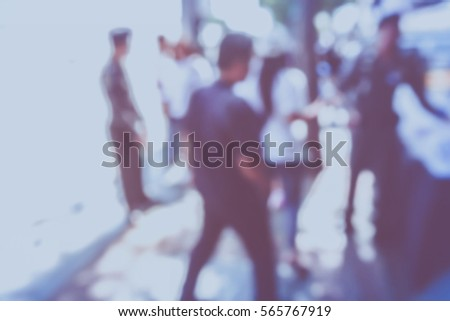 Picture blurred  for background abstract and can be illustration to article of people walking in festival #565767919