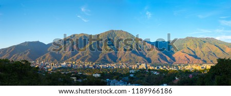 Picture created on November 27 , 2017, picture took in Caracas City, Venezuela, in photo panoramic view of Caracas and the iconic mountain named Avila, Showing a wide view of Caracas City