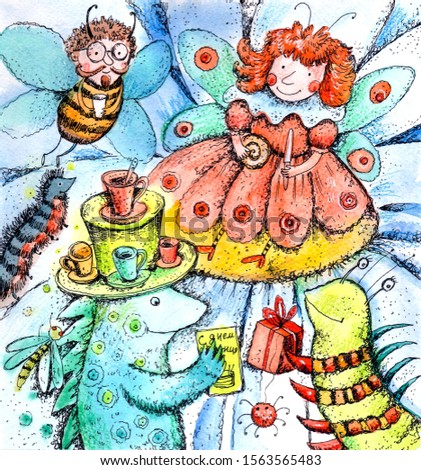 Picture for children. Tea drinking in the meadow. Funny butterfly caterpillar and beetles drink tea.