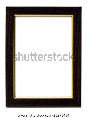 picture frame, dark wood and gold, isolated with clipping path