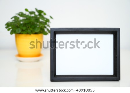 Picture Frame for Home Decoration.. Selective focused black photo frame on white background. Potted plant at the back.