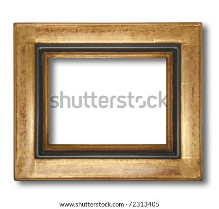 Picture frame in gold leaf with beveled center, isolated with shadow and clipping path