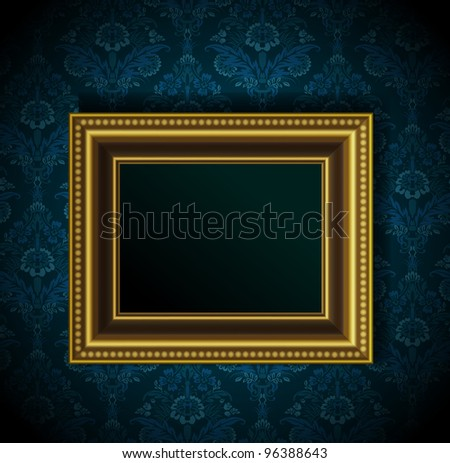 Picture frame on grunge wall vector vintage design