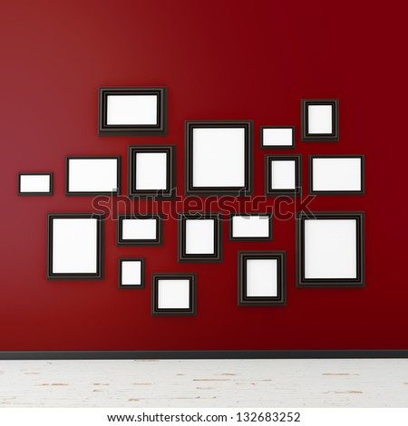 picture frame on red wall