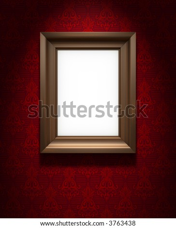 Picture frame on the red wallpaper - stock photo