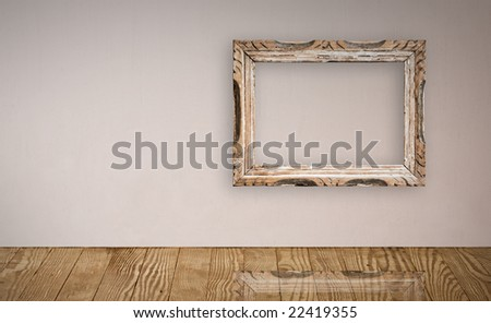 Picture frame over an old wall interior. Clipping path provided.