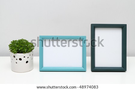 Picture Frames for Home Decoration. Photo frames and potted plant on white table.