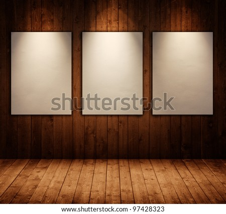 picture frames in wooden interior room