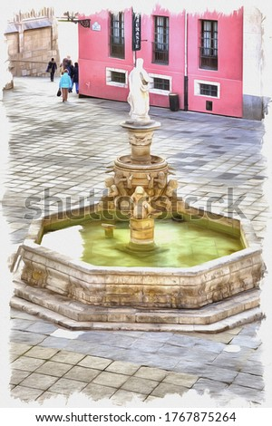 Picture from a photo. Oil paint. Imitation. Illustration. Ancient fountain before a cathedral on the area of Saint Maria. Spain. Burgos