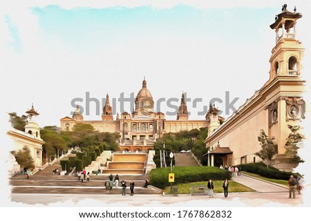 Picture from a photo. Oil paint. Imitation. Illustration. Architectural palace complex with fountains, built  in 1929 to the World exhibition