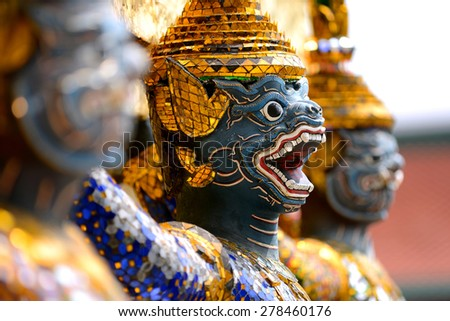 Picture from Wat Phra Kaew famous place and landmark of Thailand, Temple Giant Guardian at Grand palace in Bangkok province