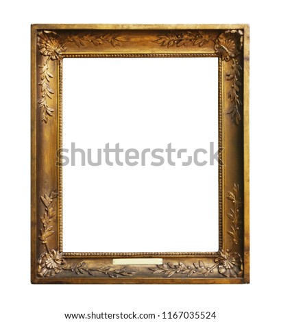 Picture gold wooden frame for design on white isolated background #1167035524