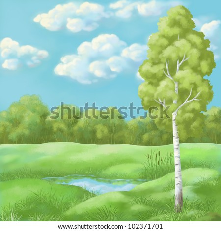 Picture, hand-draw oil paints: summer landscape, birch in the Lake